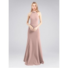 A-Line High Neck Halter Stretch Crepe Long Floor Length Dusty Pink Glover Bridesmaid Dress