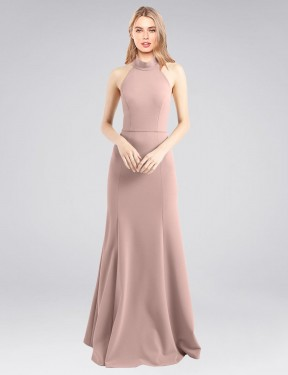 Shop A-Line High Neck Halter Stretch Crepe Long Floor Length Dusty Pink Glover Bridesmaid Dress Victoria