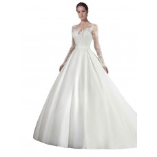 A-Line Illusion Satin & Lace Long Cathedral Train White Stephanie Wedding Dress