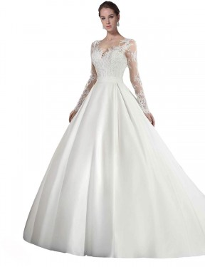 Shop A-Line Illusion Satin & Lace Long Cathedral Train White Stephanie Wedding Dress Victoria
