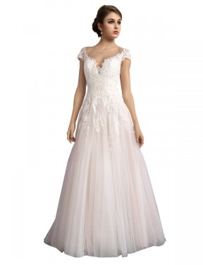 Shop A-Line Illusion Tulle Long Cathedral Train Ivory & Champagne Mariana Wedding Dress Victoria