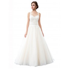 A-Line Illusion Tulle Long Cathedral Train Ivory Raegan Wedding Dress