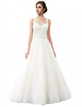 Shop A-Line Illusion Tulle Long Cathedral Train Ivory Raegan Wedding Dress Victoria