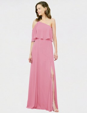 Shop A-Line One Shoulder Chiffon Long Floor Length Skin Pink Charly Bridesmaid Dress Victoria