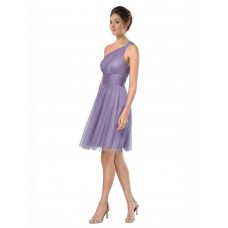 A-Line One Shoulder Tulle Short Knee Length Watermelon Alessia Bridesmaid Dress