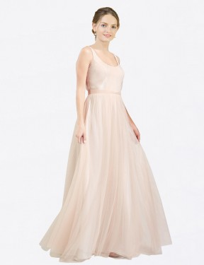 Shop A-Line Scoop Tulle Long Floor Length Pink Lily Bridesmaid Dress Victoria