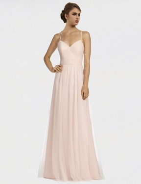 Shop A-Line Spaghetti Straps Tulle Long Floor Length Pink Jayde Bridesmaid Dress Victoria