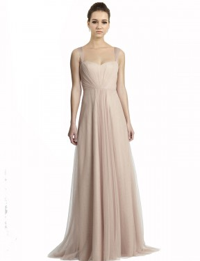 Shop A-Line Square Tulle Long Floor Length Nude Jeilyn Bridesmaid Dress Victoria