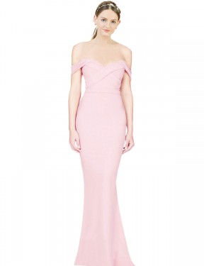 Shop A-Line Strapless Stretch Crepe Long High Low Pink Ayad Bridesmaid Dress Victoria