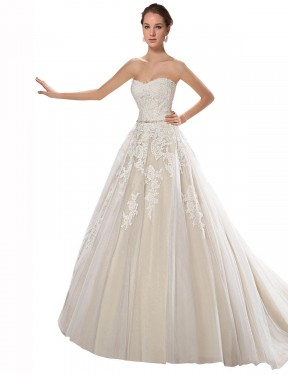 Shop A-Line Strapless Tulle & Lace Long Chapel Train Ivory & Champagne Lilliana Wedding Dress Victoria