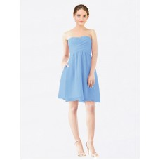 A-Line StraplessSweetheart Chiffon Short Knee Length Periwinkle Avery Bridesmaid Dress