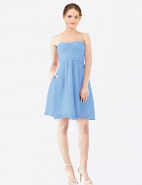 Shop A-Line StraplessSweetheart Chiffon Short Knee Length Periwinkle Avery Bridesmaid Dress Victoria