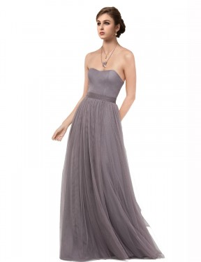 Shop A-Line Sweetheart Strapless Tulle Long Floor Length Pewter Emmy Bridesmaid Dress Victoria