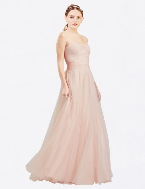 Shop A-Line Sweetheart Strapless Tulle Long Floor Length Pink Layla Bridesmaid Dress Victoria