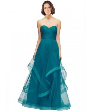 Shop A-Line Sweetheart Strapless Tulle Long Floor Length Turquoise Lacey Bridesmaid Dress Victoria