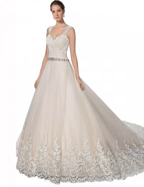 Shop A-Line Sweetheart Tulle & Lace Long Chapel Train Ivory & Champagne Ember Wedding Dress Victoria
