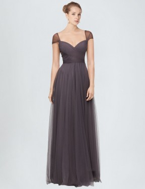Shop A-Line Sweetheart Tulle Long Floor Length Pewter Alena Bridesmaid Dress Victoria