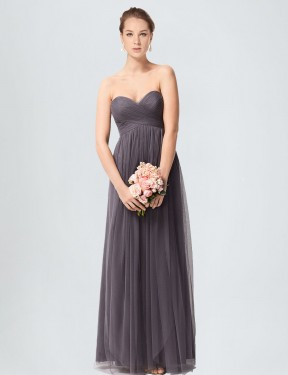 Shop A-Line Sweetheart Tulle Long Floor Length Pewter Kimber Bridesmaid Dress Victoria