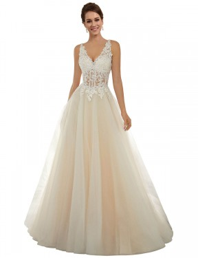 Shop A-Line V-Neck Lace & Tulle Long Chapel Train Ivory & Champagne Amy Wedding Dress Victoria
