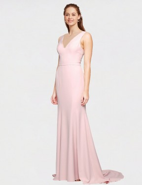 Shop A-Line V-Neck Stretch Crepe Long Sweep Train Floor Length Pink Polly Bridesmaid Dress Victoria