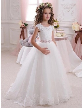 Shop Ball Gown High Neck Lace & Tulle Long Floor Length Ivory Flower Girl Dress Victoria