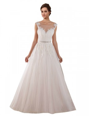 Shop Ball Gown Illusion Tulle Long Chapel Train Ivory Rosalie Wedding Dress Victoria