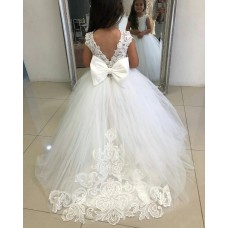 Ball Gown Lace & Tulle Long Chapel Train Ivory Flower Girl Dress