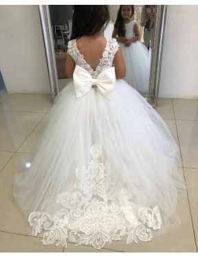 Shop Ball Gown Lace & Tulle Long Chapel Train Ivory Flower Girl Dress Victoria