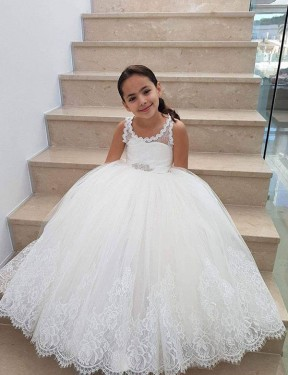 Shop Ball Gown Lace & Tulle Long Floor Length Ivory Flower Girl Dress Victoria