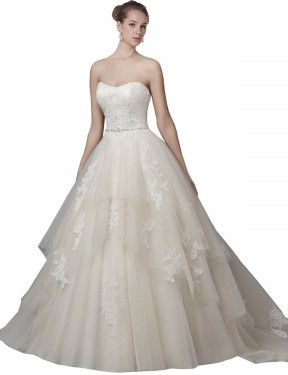 Shop Ball Gown Strapless Tulle Long Chapel Train Ivory Elaina Wedding Dress Victoria