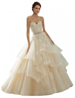 Shop Ball Gown Sweetheart Lace Long Chapel Train Ivory & Champagne Adaline Wedding Dress Victoria