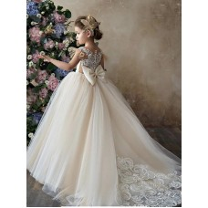Ball Gown Sweetheart Lace & Tulle Long Chapel Train Champagne Flower Girl Dress