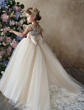 Shop Ball Gown Sweetheart Lace & Tulle Long Chapel Train Champagne Flower Girl Dress Victoria