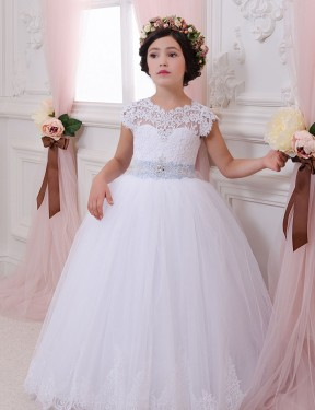 Shop Ball Gown Sweetheart Lace & Tulle Long Chapel Train Ivory Flower Girl Dress Victoria