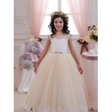 Ball Gown Sweetheart Lace & Tulle Long Floor Length Ivory & Champagne Flower Girl Dress