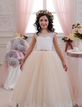 Shop Ball Gown Sweetheart Lace & Tulle Long Floor Length Ivory & Champagne Flower Girl Dress Victoria