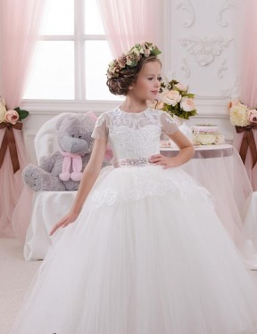 Shop Ball Gown Sweetheart Lace & Tulle Long Floor Length Ivory Flower Girl Dress Victoria