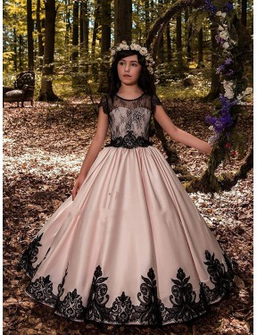 Shop Ball Gown Sweetheart Satin & Lace Long Floor Length Ivory Flower Girl Dress Victoria