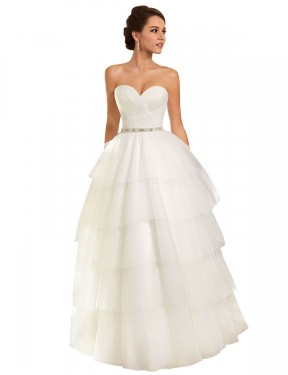 Shop Ball Gown Sweetheart Tulle Long Chapel Train Ivory Molly Wedding Dress Victoria