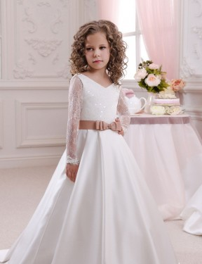 Shop Ball Gown V-Neck Satin & Lace Long Chapel Train Ivory Flower Girl Dress Victoria