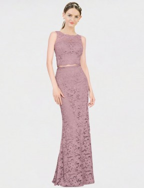 Shop Mermaid Fit and Flare Illusion Neckline Lace Long Floor Length Pink Calliope Bridesmaid Dress Victoria