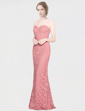 Shop Mermaid Fit and Flare Strapless Sweetheart Lace Long Floor Length Pink Joselyn Bridesmaid Dress Victoria