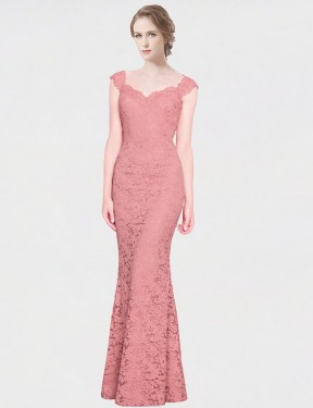 Shop Mermaid Fit and Flare Strapless Sweetheart Lace Long Floor Length Pink Paola Bridesmaid Dress Victoria