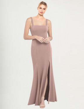 Shop Mermaid High Neck Square Stretch Crepe Long Floor Length Dusty Pink Fernella Bridesmaid Dress Victoria