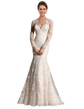 Shop Mermaid Illusion Lace & Tulle Long Chapel Train Ivory & Champagne Aliyah Wedding Dress Victoria