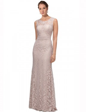 Shop Mermaid Illusion Scoop Lace Long Floor Length Pink Emberly Bridesmaid Dress Victoria