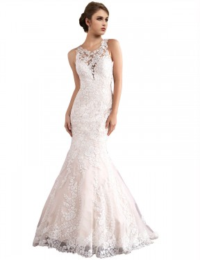 Shop Mermaid Illusion Tulle Long Cathedral Train Ivory & Champagne Amiyah Wedding Dress Victoria