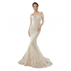 Mermaid Off the Shoulder Lace & Tulle Long Chapel Train Ivory & Champagne Blake Wedding Dress