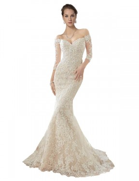 Shop Mermaid Off the Shoulder Lace & Tulle Long Chapel Train Ivory & Champagne Blake Wedding Dress Victoria