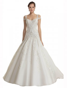 Shop Mermaid Off the Shoulder Lace & Tulle Long Sweep Train Ivory Miriam Wedding Dress Victoria